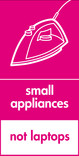 Small appliances (not laptops) signage - iron icon (portrait)