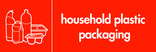 Household plastic packaging (no film) signage - assorted plastics icon (landscape)