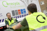 Recycling crew with glass wheelie bin