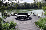 Circular bench by lake