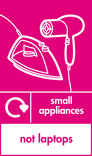 Small appliances (not laptops) signage - iron & hairdryer icon with logo (portrait)