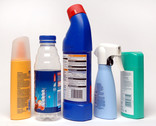 Assorted plastic bottles with lids - sun cream, drinks bottle, detergent bottle, spray bottle, shampoo bottle