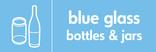 Blue glass signage - bottles & jars icon (landscape)