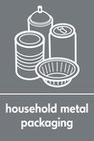 Household metal packaging (cans,foil & aerosol) signage - assorted cans & foil icon (portrait)