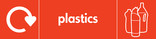 Plastics signage - bottles icon with logo (landscape)