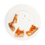 Leftover pizza crusts on plate