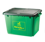 Recycling bin with lid on white background