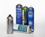 Assorted aerosol cans