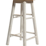Wooden painted white stool