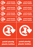 Plastic and Plastic Bottles stickers (bilingual, English-Welsh & Welsh-English)