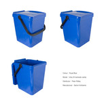Royal blue food waste kerbside container - show unlocked and locked