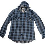 Men's long-sleeved hooded checked shirt