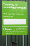 Thank you for recycling sign at Recycle for Staffordshire centre