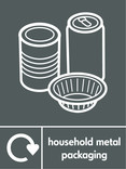 Household metal packaging (cans & foil) signage - assorted cans & foil icon with logo (portrait)