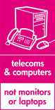 Telecoms & Computers (not monitors or laptops) signage - computer & fax icon (portrait)