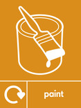 Paint signage - paint pot & brush icon with logo (portrait)