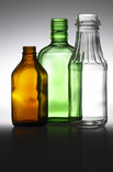 Brown, green and clear class bottles