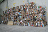 Bales of crushed cardboard boxes