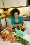 Woman putting veg peelings into food waste caddy in kitchen