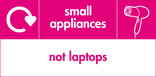 Small appliances (not laptops) signage - hairdryer icon with logo (landscape)