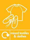 Mixed textiles & clothes signage - t-shirt & shoes icon with logo (portrait)