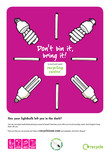 Don't Bin it Bring it - A3 poster for Lightbulbs