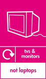 TVs & Monitors (not laptops) signage - TV icon with logo (portrait)