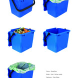 Royal blue food waste kitchen caddy shown with and without compostable liner
