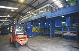 Forklift and containers at a Materials Recycling Facility (MRF)