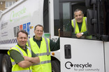 Three man recycling crew with lorry