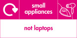 Small appliances (not laptops) signage - iron & hairdryer icon with logo (landscape)