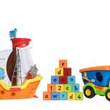 Children's toys - boat, truck, toy bricks