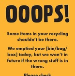 Recycle Now Contamination amber bin/box/sack sticker