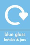 Blue glass signage - logo (portrait)