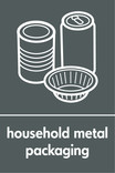 Household metal packaging (cans & foil) signage - assorted cans & foil icon (portrait)