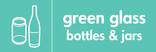 Green glass signage - bottles & jars icon (landscape)