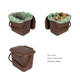 Brown food waste kitchen caddy - show empty and full with compostable liner