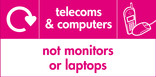 Telecoms & Computers (not monitors or laptops) signage - phone & mouse icon with logo (landscape)