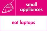 Small appliances (not laptops) signage - iron icon (landscape)