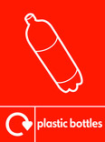 Plastic bottles signage - bottle icon with logo (portrait)