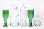 Items made from recycled and upcycled green and clear glass