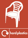 Hard plastics signage - garden chair icon with logo (portrait)