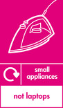 Small appliances (not laptops) signage - iron icon with logo (portrait)