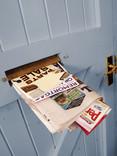 Mail in letterbox of blue door