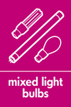 Mixed light bulbs signage - lightbulbs icon (portrait)