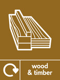 Wood & Timber signage - wood icon (no branch) with logo (portrait)