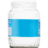 Clear glass jar with label