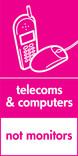 Telecoms & Computers signage - phone & mouse icon (portrait)