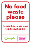 No food waste please - portrait residual bin sticker. Please ensure you purchase high quality stickers that are UV resistant to prevent fading.