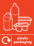 Plastic packaging signage - packaging icon with logo (portrait)